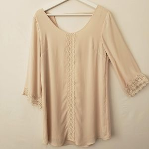 ASTR Blouse Lace Cream Beige Women's Size Medium